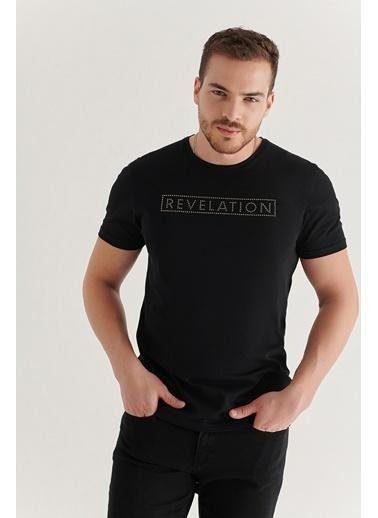 Avva A11Y1061 Bisiklet Yaka Detaylıı T-Shirt A11Y1061 Siyah